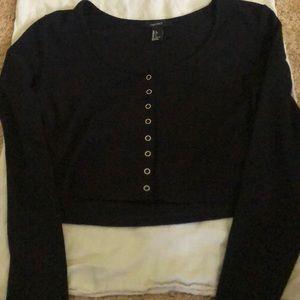 Black Long Sleeve Button Down Crop Shirt